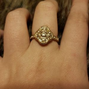 Regal Gold Colored Ring with Gems